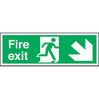 """""""Fire Exit"""" Down Right Arrow Sign 150 x 450mm"""