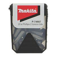 Makita Torsion Screwdriver Bits PH2 x 25mm 25 Pack
