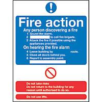 """Fire Action"" Notice Sign 230 x 172mm"