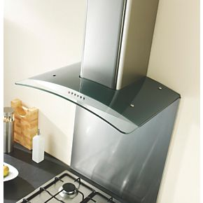 Ghx90ss Curved Glass Cooker Chimney Hood Stainless Steel