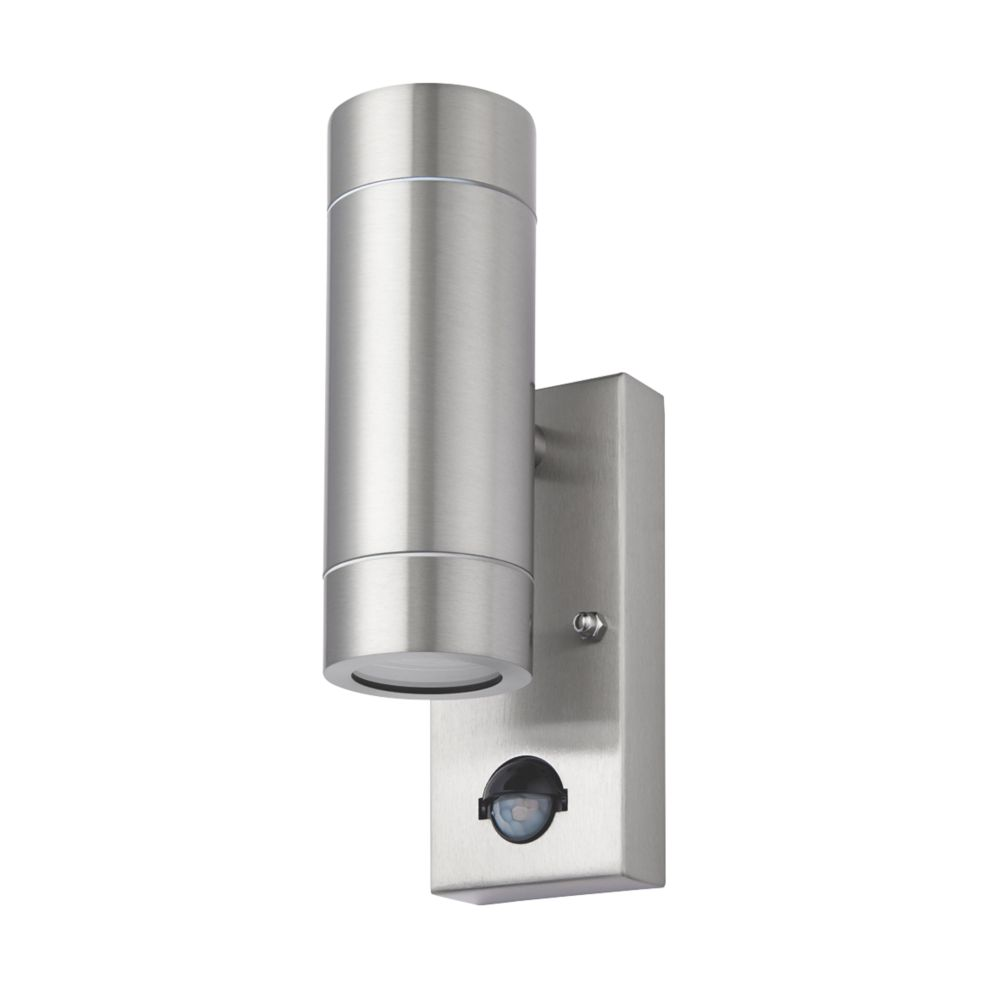 Screwfix Outdoor Wall Lights : LAP Bronx Stainless Steel GU10 PIR Up & Down Wall Light Outdoor Wall Lights Screwfix.com