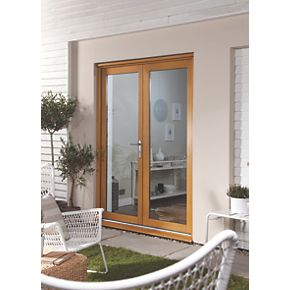Jeld wen oakfold french door set oak veneer 1790 x 2090mm for Upvc french doors 1790 x 2090mm