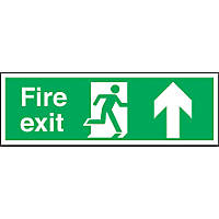 """Fire Exit"" Up Arrow Sign 150 x 450mm"