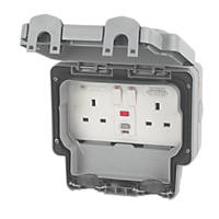 MK Masterseal Plus 13A 2 Gang Switched RCD Socket Passive