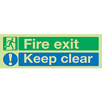 """Nite-Glo  """"Fire Exit Keep Clear"""" Sign 150 x 450mm"""