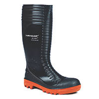 Dunlop Safety Footwear Acifort A252931 Ribbed Safety Wellington Boots Black Size 6