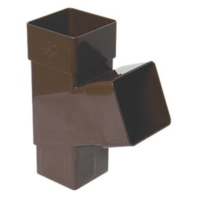 Floplast Square Downpipe Branch 65mm Brown Square Line
