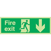 "Nite-Glo  ""Fire Exit"" Down Arrow Sign 150 x 450mm"