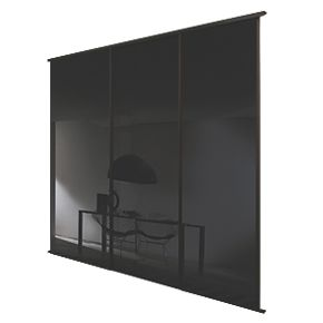 Spacepro 3 Door Framed Glass Sliding Wardrobe Doors Black