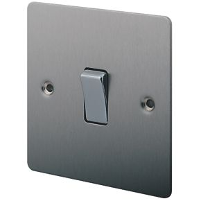 Lap 1 Gang 2 Way 10ax Light Switch Brushed Stainless Steel