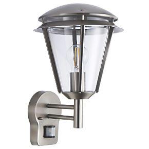 antler brushed s steel wall light with pir 60w outdoor. Black Bedroom Furniture Sets. Home Design Ideas