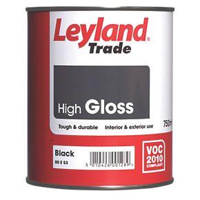 Leyland Trade High Gloss Paint Black 750ml Gloss Paints
