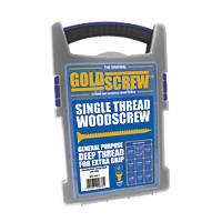 Goldscrew PZ Double Countersunk Woodscrews Trade Case Grab Pack 1000 Pcs