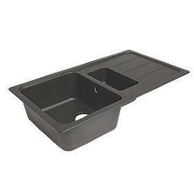 Granite Composite Kitchen Sink Amp Drainer Black 1 5 Bowl