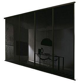 Spacepro 4 Door Framed Glass Sliding Wardrobe Doors Black