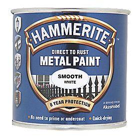 Hammerite Smooth Metal Paint White 250ml Metal Paints