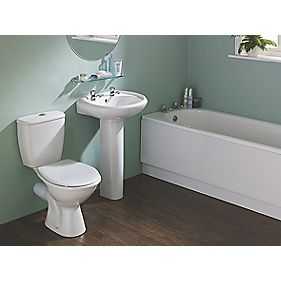 Grove contemporary single ended bathroom suite with steel for Contemporary bathroom suites