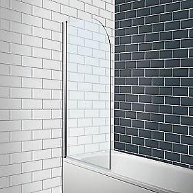 Radius Edge Bath Screen Semi Framed Silver Clear 780 X