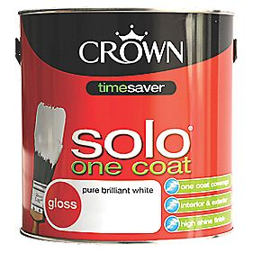 Crown solo one coat gloss paint pure brilliant white 2 for One coat white paint