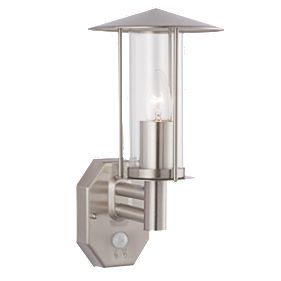 Screwfix Outdoor Wall Lights : Brushed Stainless Steel E27 GLS PIR Wall Light Outdoor Wall Lights Screwfix.com