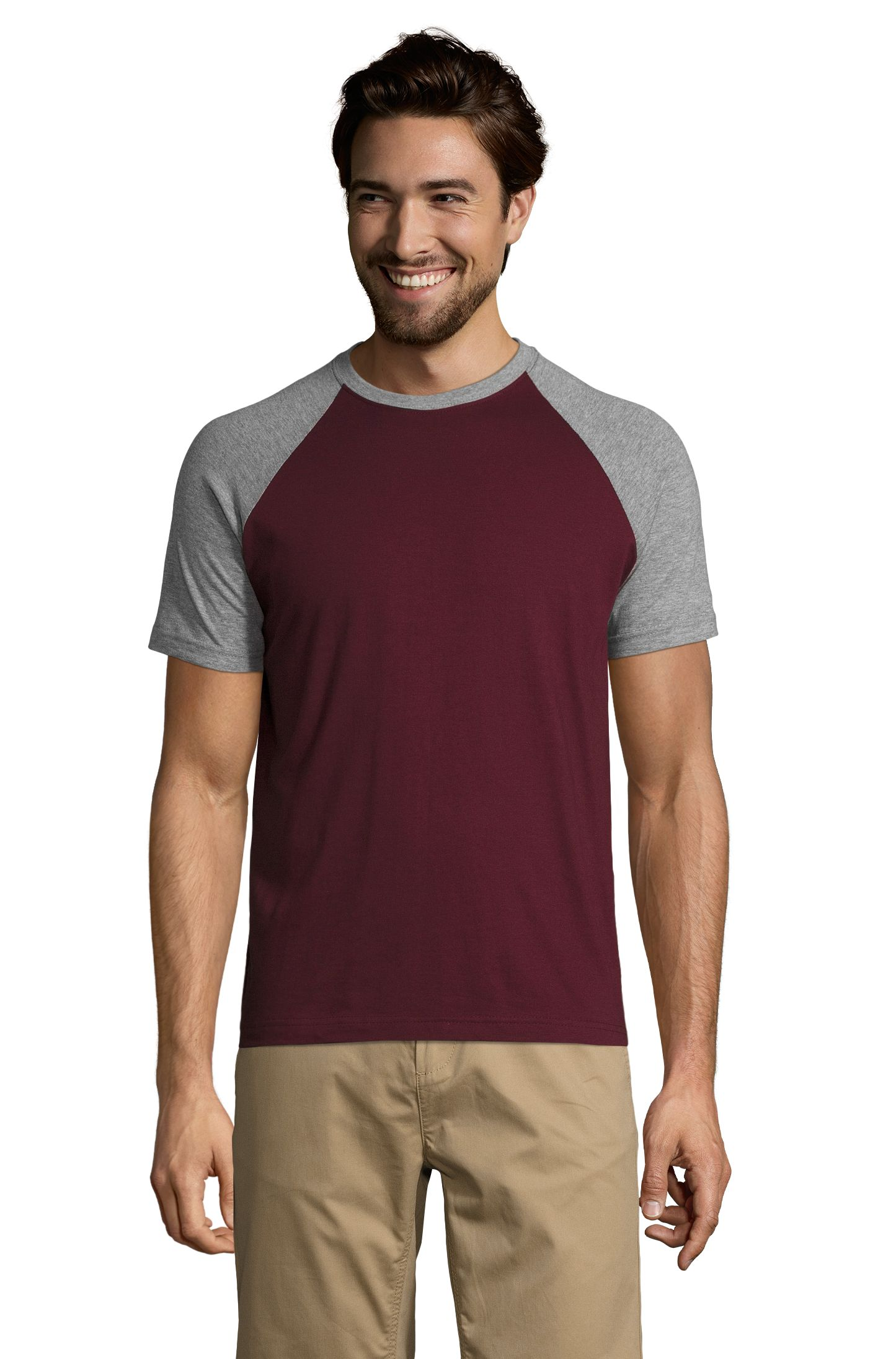 895 - Grey melange / Burgundy